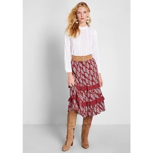 Louche Red Paisley Print Prairie Midi Skirt 8 NWT
